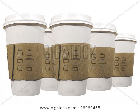 three coffee cups to go