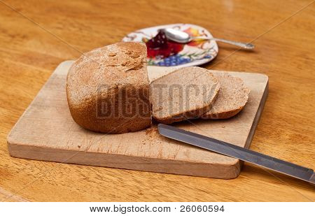 Sliced Wheat Bread And Jam