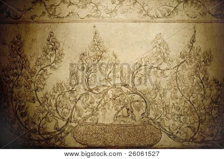 old floral stencil in Buddhist  temple