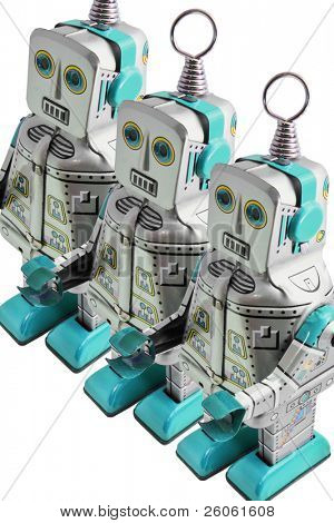three retro toy  robots