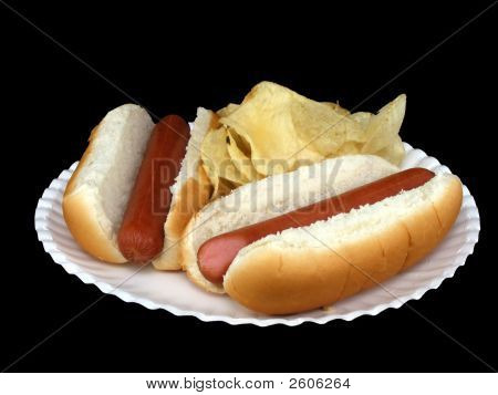 Hot Dogs And Potato Chips
