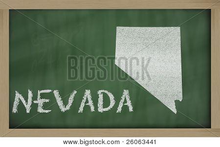 Outline Map Of Nevada On Blackboard