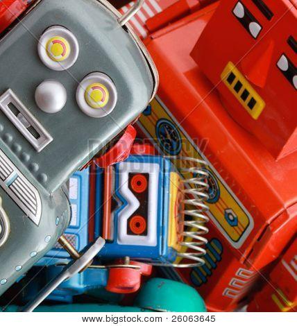 brinquedos retro em uma caixa