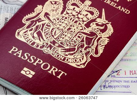 biometric passport on a page of visas