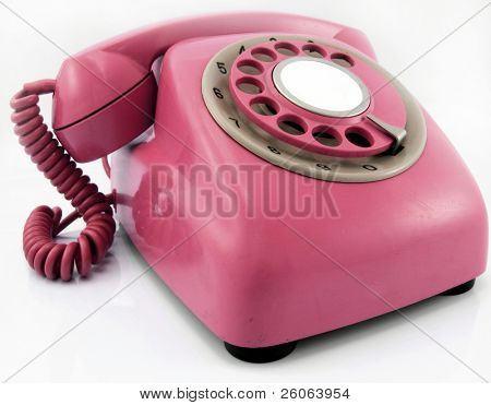 telefone retrô rosa