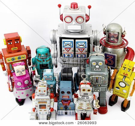 large retro robot group