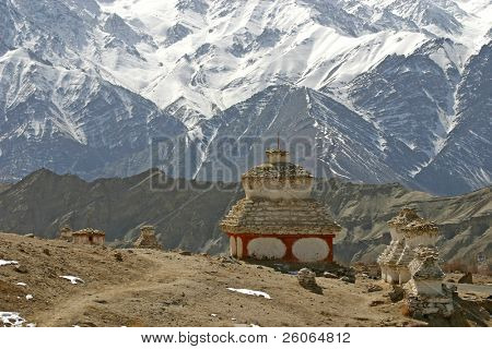 Stupa in the Himalayas (Buddhistic symbol)