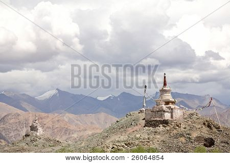 Buddhist stupas in the Himalayas and Tibet