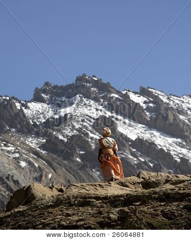 Lonely pilgrim in the Himalayas