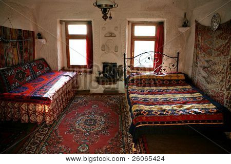 Interior of traditional cave house in Cappadocia (Turkey)