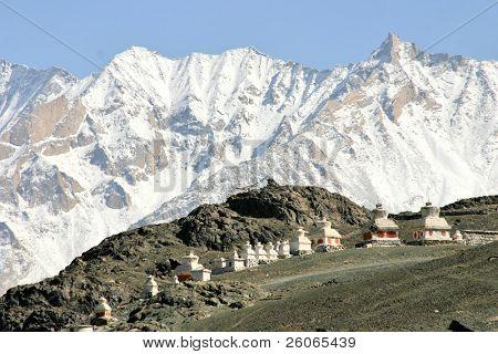 Buddhist stupas in the Himalayas (Ladakh, Kashmir, India)