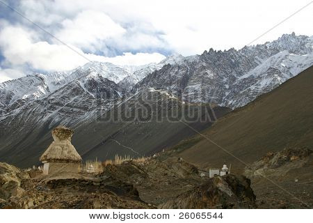 Buddhist stupa in the Himalayas (Ladakh, Kashmir, India)