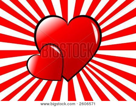 Rainbow Hearts Valentines Background