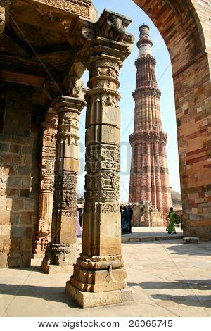 Red sandstone tower, Qutub Minar, in Delhi India.