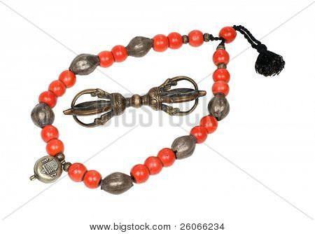 Antique Tibetan necklace and Vajra – dorje – Buddhist artifacts