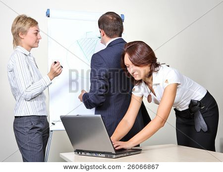 Three office workers, a man giving a presentation on a flip chart trying to convince the others. Feamale colleague is working on a laptop