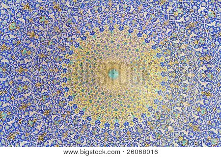 Inside of the mosque dome, Esfahan, Iran