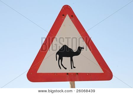 A triangular road sign with camel