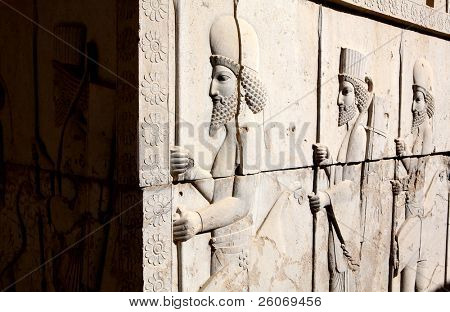 Bas-relief of Persian soldiers from Persepolis, Iran (VI-th century BC)