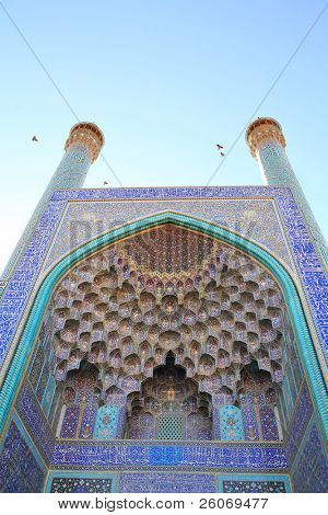 Minaret of Imam Mosque in Isfahan, Iran