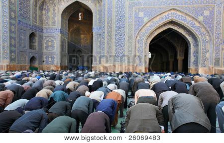 Muslim Friday mass prayer in Imam Mosque in Isfahan, Iran