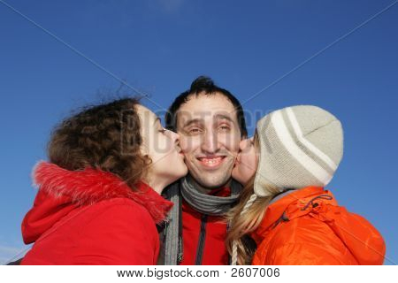 Two Girl Kissing Guy