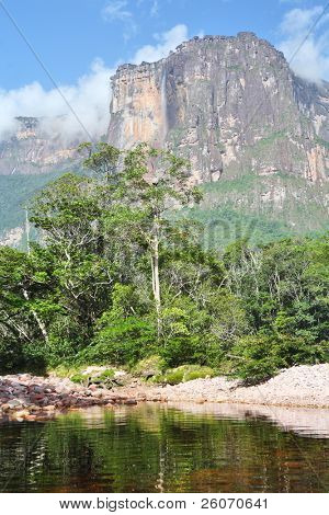 Auyan Tepuy with Angel Falls - highest waterfall in the world, Venezuela