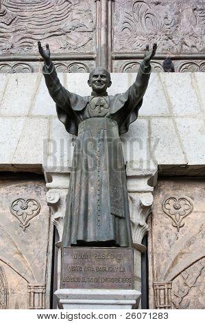 Statue of Pope John Paul II at Basilica del Voto Nacional in Quito, Ecuador