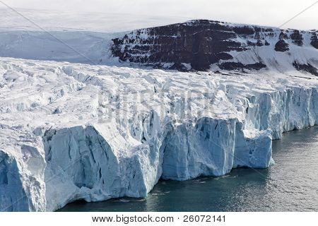 Aerial View of Glaciers (flowing into Arctic Ocean)
