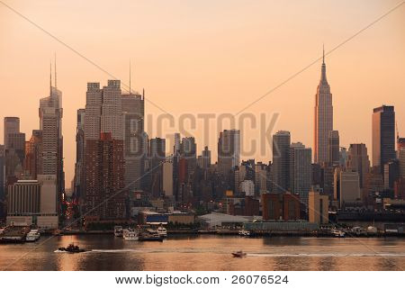 New York City Manhattan skyline with Empire State building and skyscrapers over Hudson River