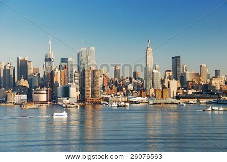 Manhattan, New York City skyline with empire state building over Hudson River.