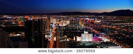 LAS VEGAS - MAR 4: Vegas Strip night aerial panorama, featured with world class hotels and casino on March 4, 2010 in Las Vegas, Nevada.