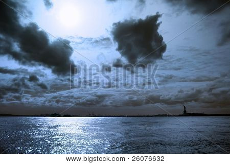 Moon night with Statue of Liberty. New York City.