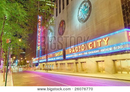 NEW YORK CITY - AUG 1: Radio City Music Hall, located in Rockefeller Center Manhattan, its interior was declared a city landmark in 1978. August 1, 2010 in Manhattan, New York City.