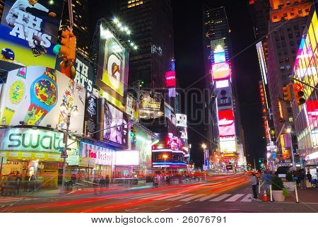 NEW YORK CITY - SEP 5: Times Square, featured with Broadway Theaters and animated LED signs, is a symbol of New York City and the United States,  September 5, 2009 in Manhattan, New York City.