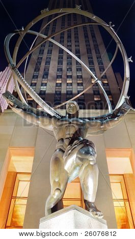 NEW YORK CITY - AUG 1: Fifth Avenue, as a symbol of wealthy New York and one of the most expensive streets in the world, with Atlas statue, August 1, 2010 in Manhattan, New York City.