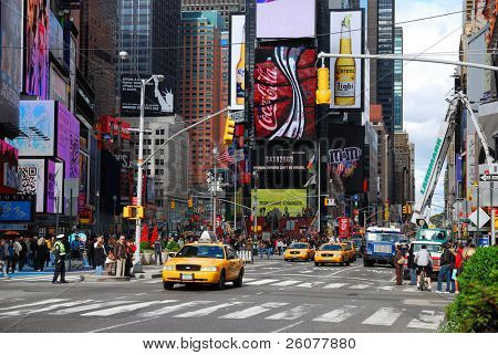 NEW YORK CITY - SEP 5: Times Square, featured with Broadway Theaters and LED signs, is a symbol of New York City and the United States, September 5, 2009 in Manhattan, New York City.