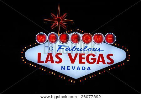 Las Vegas welcome sign on the strip.