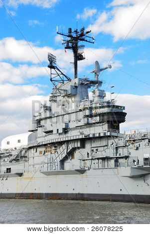 NEW YORK CITY - NOV 2: USS Intrepid (CV/CVA/CVS-11),  is one of 24 Essex-class aircraft carriers built during World War II for the United States Navy, November 2, 2010 in Manhattan, New York City.