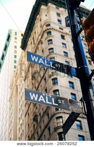 """NEW YORK CITY - AUG 8: Wall Street, a metonym for the """"influential financial interests"""" of the American financial industry. August 8, 2010 in Manhattan, New York City."""
