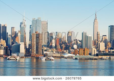 Urban Architecture, New York City over Hudson River with Empire State building.