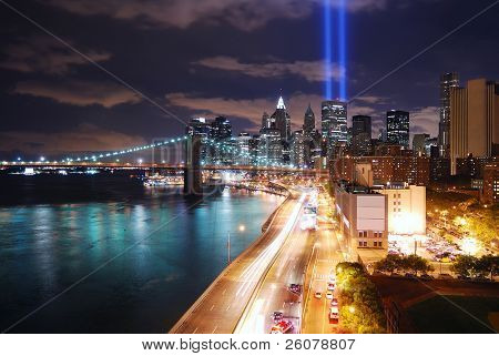 NEW YORK CITY, NY - SEP 2: Light beams are lit at the site in memory of World Trade Center destroyed on September 11, 2001. September 11, 2010 in Manhattan, New York City.