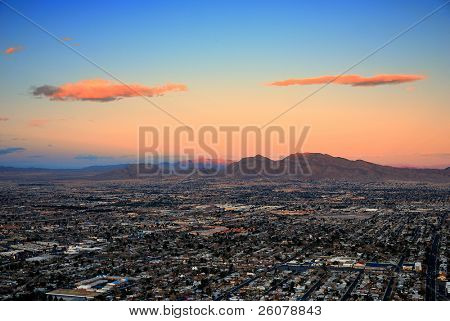Las Vegas city aerial view panorama sunset with mountain