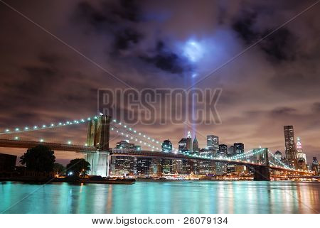 NEW YORK CITY, NY - SEP 11: Light beams lit at the site in memory of World Trade Center destroyed on September 11. September 11, 2010 in Manhattan, New York City.