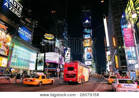 NEW YORK CITY, NY - JAN 30:Times Square symbolizes the prosperity and modern commercial atmosphere of Manhattan as the famous landmark of United States. January 30, 2011 Manhattan, New York City.