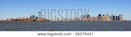 New Jersey Hoboken and New York City Manhattan downtown skyline panorama over Hudson River with skyscrapers and blue clear sky