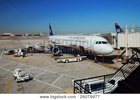 PHOENIX, AZ - MAR 3: US Airways airplane waits to take off on March 3, 2010 in Phoenix, Arizona. US Airways is the sixth largest airline by traffic and eighth largest by market in US.