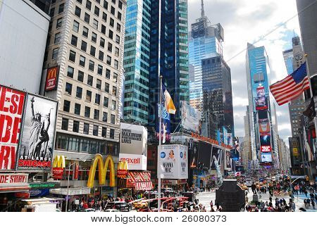 NEW YORK CITY, NY - SEP 5: Times Square street view on September 5, 2011 in Manhattan, New York City. Times Square is featured with Broadway Theaters and LED signs as a symbol of New York City.