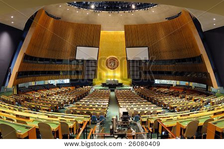 NEW YORK CITY, NY - MAR 30: UN General Assembly Hall on March 30, 2011 in Manhattan, New York City. General Assembly Hall is the largest room in the UN with seating capacity over 1,800 people.
