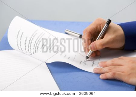 Signing The Document - Non Suit Employee